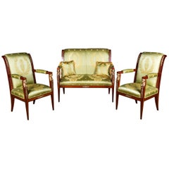 Elegant French Seating Set in Empire Style Mahogany