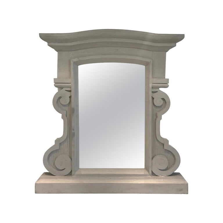 Elegant French Solid Wood Mirror in Grey Cerused Hand Paint, 1950s For Sale