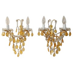 Elegant French Yellow Crystal Prisms Swags Sconces, circa 1920