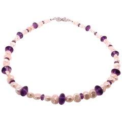 Elegant Freshwater Pearl and Amethyst Choker Necklace or Bracelet