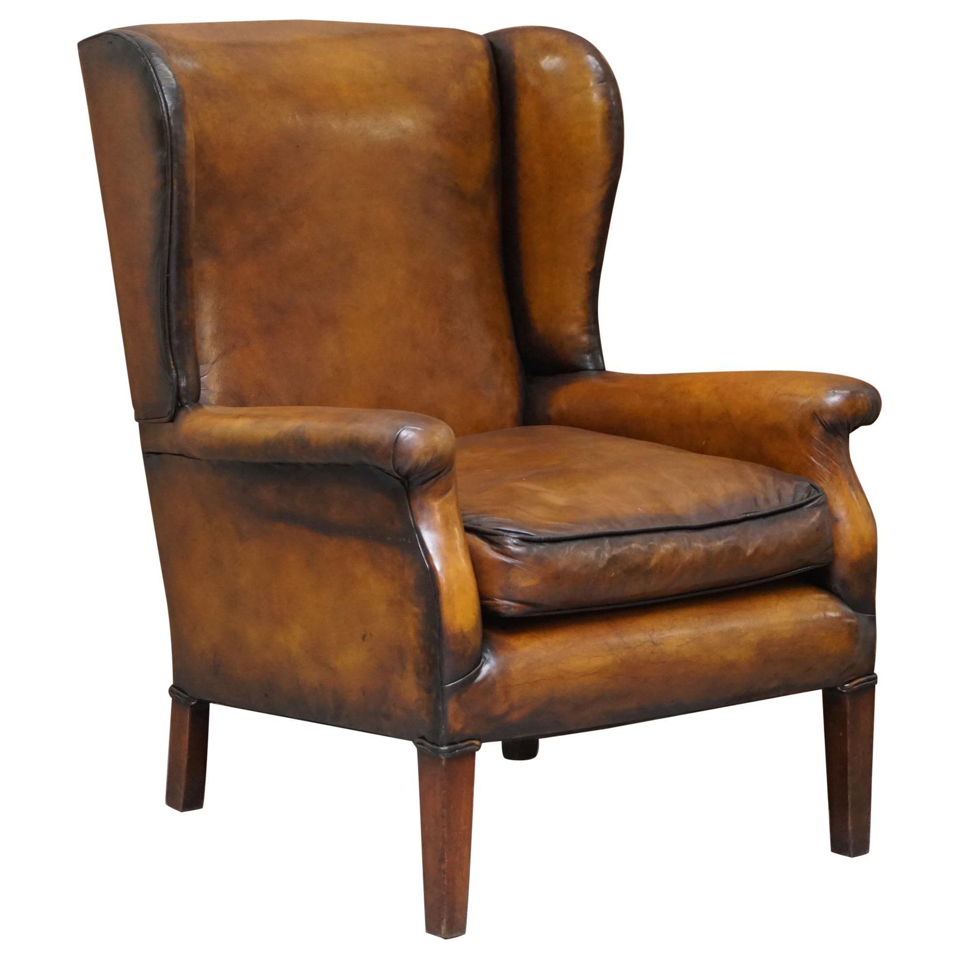 Elegant Fully Restored Edwardian Brown Leather Club Wingback Armchair circa 1900