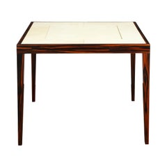 Elegant Game Table in Macassar Ebony with Lacquered Goatskin Top, 1980s