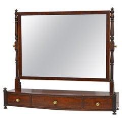 Elegant George III Mahogany Bow Front Three Drawer Dressing Table Mirror 1820-30