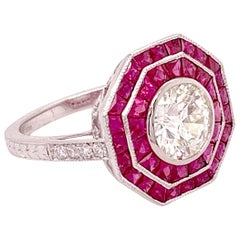 Elegant GIA Certified 1.46 Carat Round Diamond and Ruby Ring