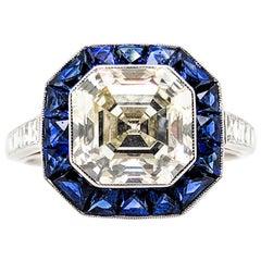 Elegant GIA Certified 3.37 Carat Square Cut Diamond Platinum Sapphire Ring