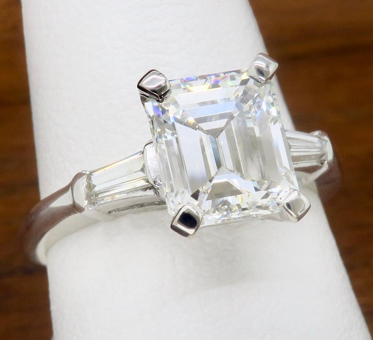 Elegant GIA Certified Emerald Cut Diamond Engagement Ring with Tapered Baguettes For Sale 6