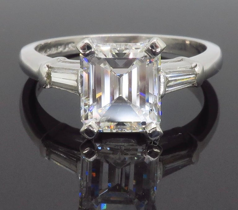 Elegant GIA Certified Emerald Cut Diamond Engagement Ring with Tapered Baguettes For Sale 8