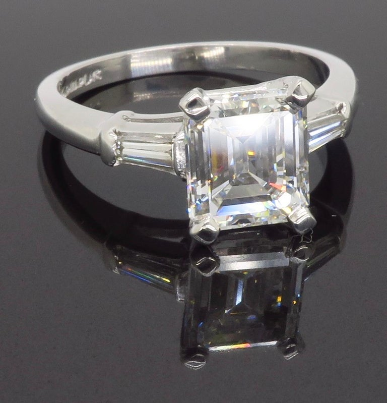 Elegant GIA Certified Emerald Cut Diamond Engagement Ring with Tapered Baguettes For Sale 9