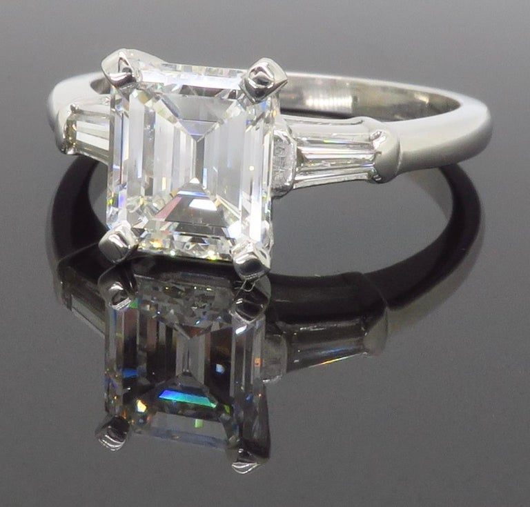Elegant GIA Certified Emerald Cut Diamond Engagement Ring with Tapered Baguettes For Sale 10