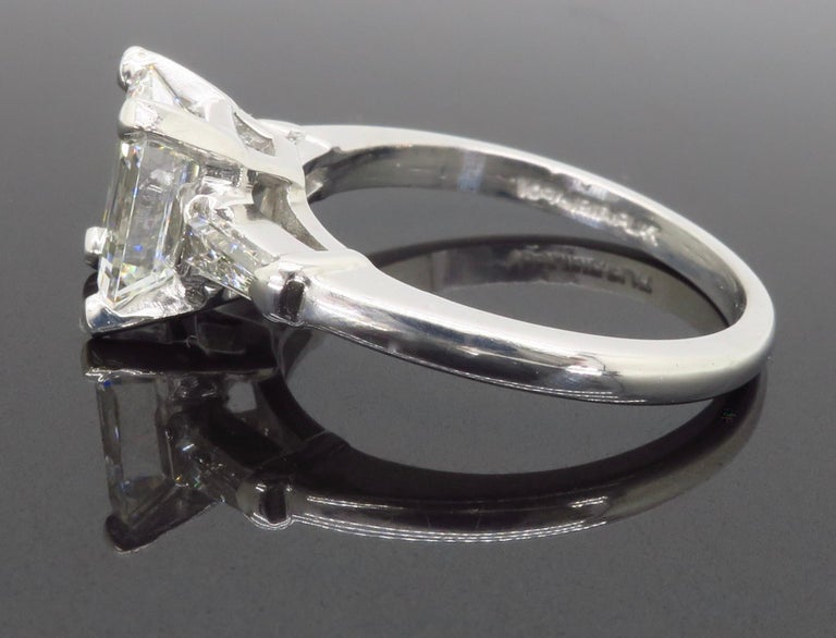 Elegant GIA Certified Emerald Cut Diamond Engagement Ring with Tapered Baguettes For Sale 12