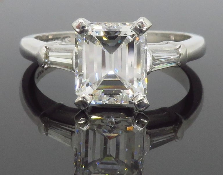 Elegant GIA Certified Emerald Cut Diamond Engagement Ring with Tapered Baguettes For Sale 14