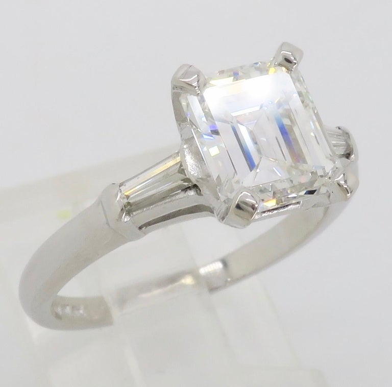 Elegant GIA Certified Emerald Cut Diamond Engagement Ring with Tapered Baguettes In Excellent Condition For Sale In Webster, NY