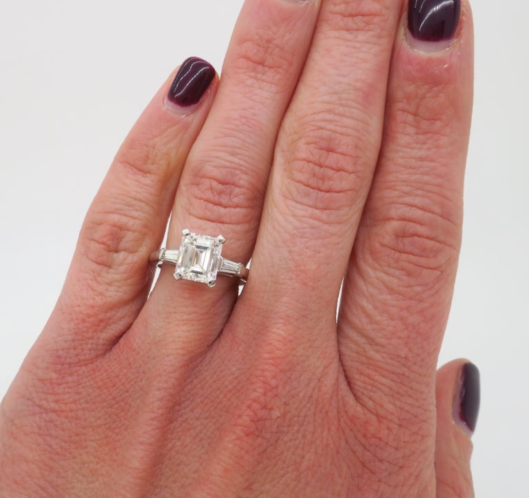 Elegant GIA Certified Emerald Cut Diamond Engagement Ring with Tapered Baguettes For Sale 1