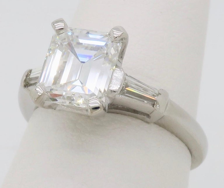 Elegant GIA Certified Emerald Cut Diamond Engagement Ring with Tapered Baguettes For Sale 2