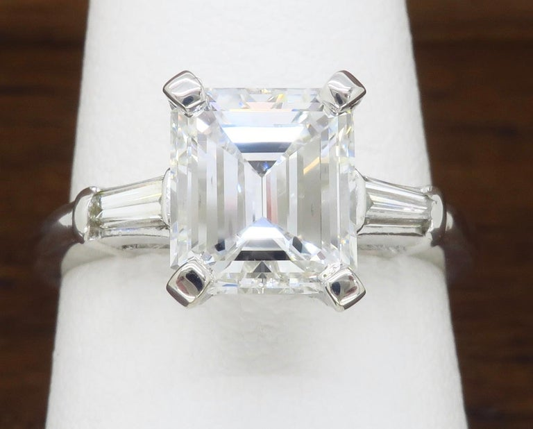 Elegant GIA Certified Emerald Cut Diamond Engagement Ring with Tapered Baguettes For Sale 3