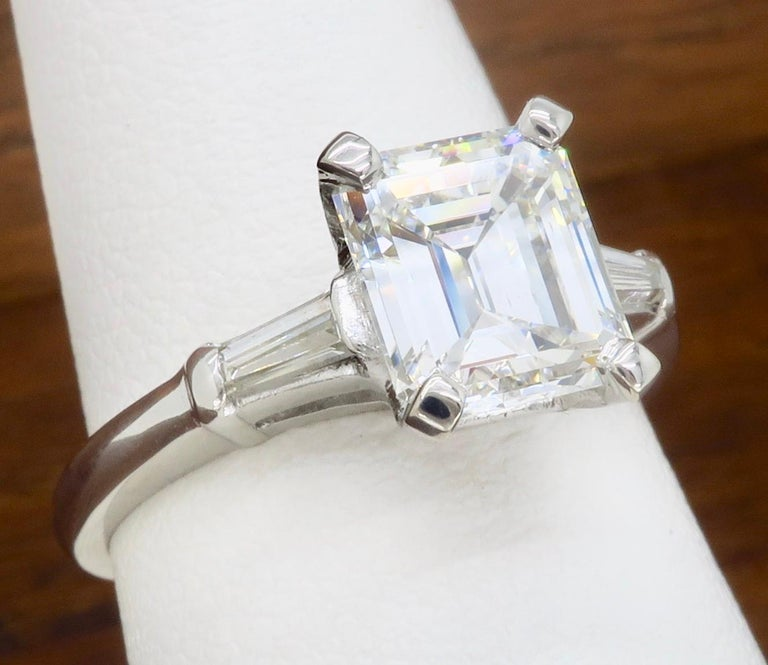 Elegant GIA Certified Emerald Cut Diamond Engagement Ring with Tapered Baguettes For Sale 4