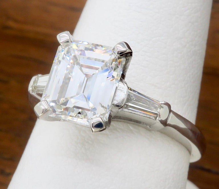 Elegant GIA Certified Emerald Cut Diamond Engagement Ring with Tapered Baguettes For Sale 5