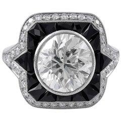 Elegant GIA Certified Platinum 3.04 Carat Diamond and Onyx Ring