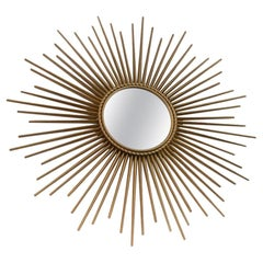 Elegant Gilded Metal Framed Sunburst Mirror by Chaty Vallauris, France, 1960s