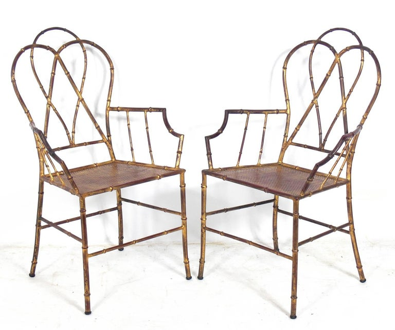 Elegant Gilt Metal Faux Bamboo Dining Set In Good Condition For Sale In Atlanta, GA