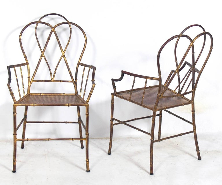 Mid-20th Century Elegant Gilt Metal Faux Bamboo Dining Set For Sale