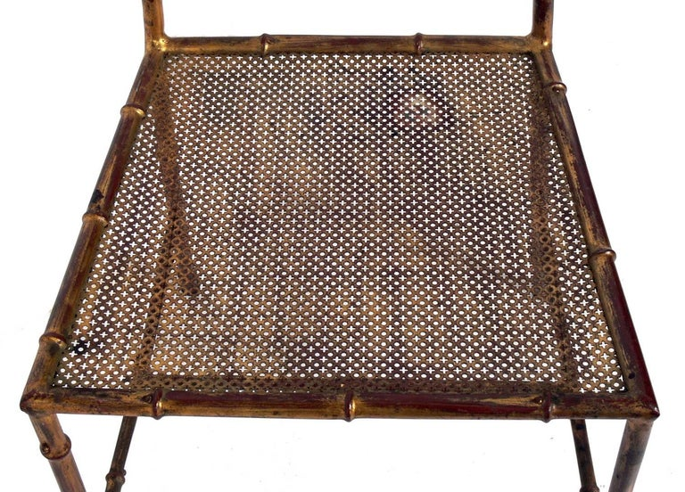 Glass Elegant Gilt Metal Faux Bamboo Dining Set For Sale