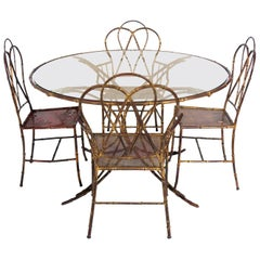 Elegant Gilt Metal Faux Bamboo Dining Set