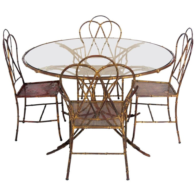 Elegant Gilt Metal Faux Bamboo Dining Set For Sale