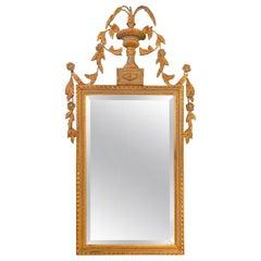 Elegant Giltwood Beveled Wall Mirror Louis XV Style