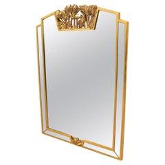 Elegant Giltwood Flowered Mirror by Deknudt, Belgium