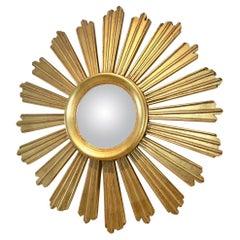 Elegant Giltwood Sunburst Convex Mirror, France, 1950s