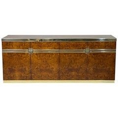 Elegant Glam Pierre Cardin Burled Olive Credenza Case Piece with Brass Detail