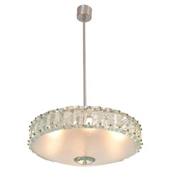 Elegant Glass Chandelier in Style of Fontana Arte, circa 1960