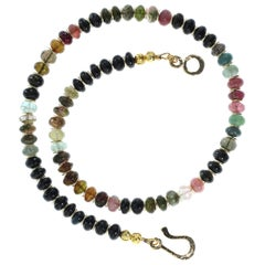 Gemjunky Elegant Glittering Tourmaline Multi-Color Necklace with Goldy Accents
