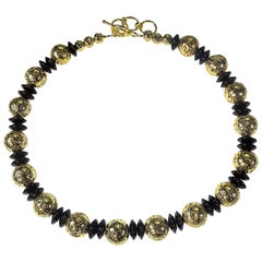 Elegant Gold and Black Choker Necklace