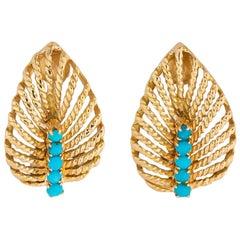 Elegant Gold and Turquoise Leaf Motif Earrings
