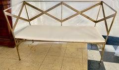 Elegant Gold Gilt Neoclassical Revival Metal Bench