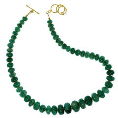 Gemjunky Elegant Graduated Emerald Rondelle Necklace