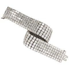 Elegant Handcrafted 5-Row Diamond Platinum Bracelet