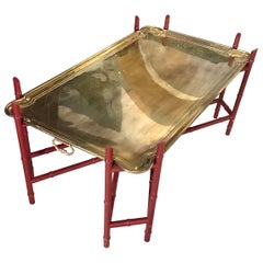 Elegant Heavy Brass Tray Coffee Table with Faux Bamboo Base