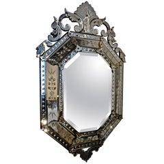 Elegant Hexagonal Venetian Mirror, Italy, 1930