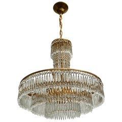 Elegant Hollywood Regency Crystal and Brass Chandelier