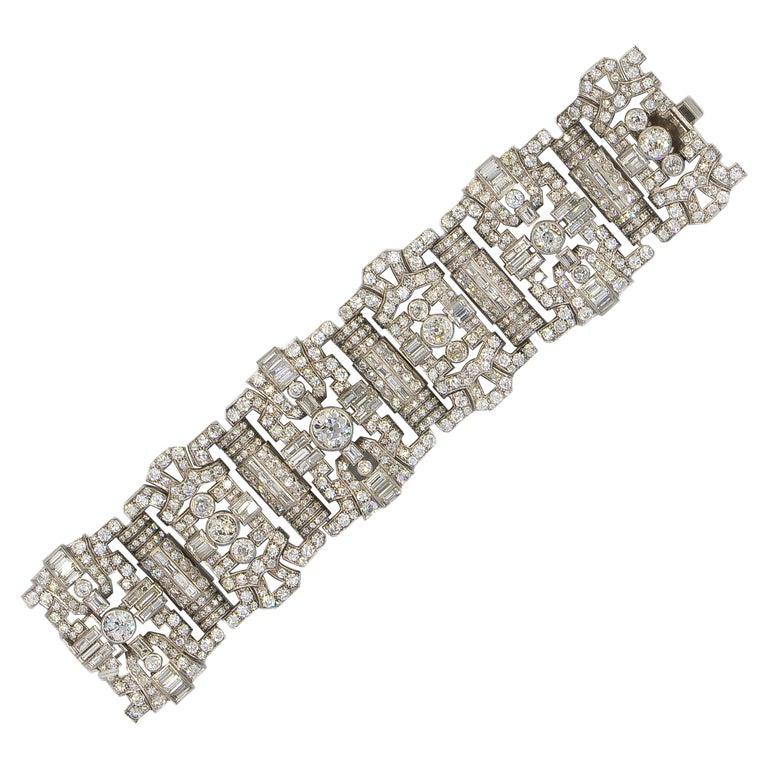 Important Diamonds Platinum Bracelet 48+ Carats Rare Antique 1920's Bracelet For Sale