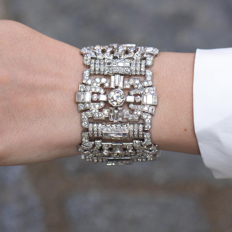 Diamonds = 48+ Carats ( Color: F-H, Clarity: VS ) Metal: Platinum Period: 1920's Length = 7 Inches Jewelry Gift Box Included