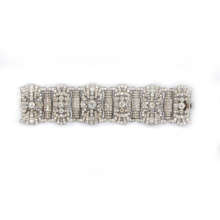 Art Deco Important Diamonds Platinum Bracelet 48+ Carats Rare Antique 1920's Bracelet For Sale