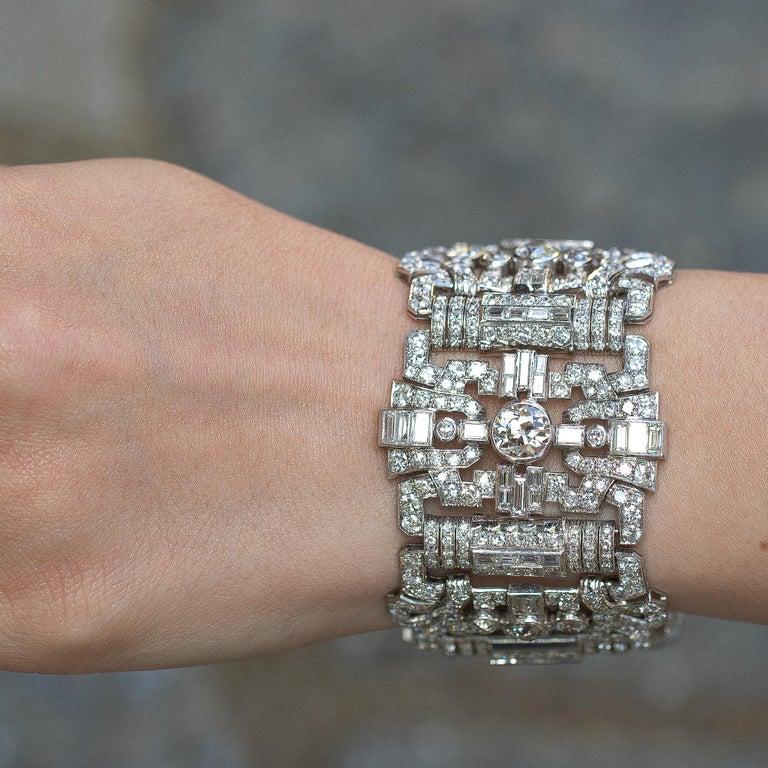 Round Cut Important Diamonds Platinum Bracelet 48+ Carats Rare Antique 1920's Bracelet For Sale