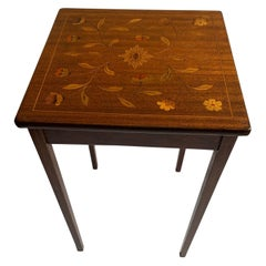 Elegant Inlaid End Table with Mixed Woods