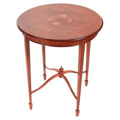 Elegant Inlaid Satinwood Round Antique Occasional Table