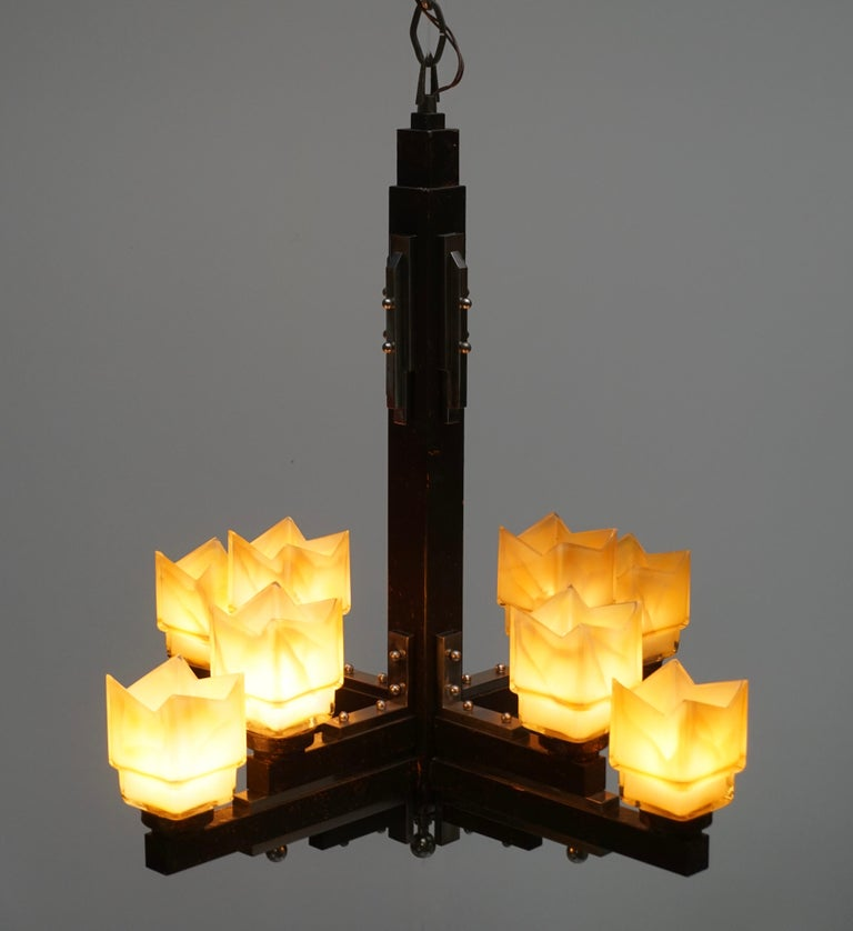 Elegant Italian Art Deco Chandelier For Sale 1
