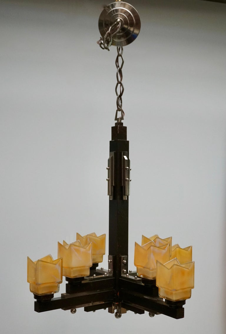 Elegant Italian Art Deco Chandelier For Sale 3